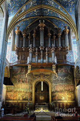 Fresco Of The Last Judgement And Organ In Albi Cathedral Poster by RicardMN Photography