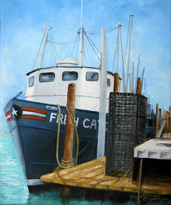 Fresh Catch Fishing Boat Poster