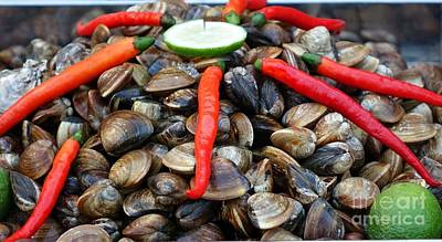 Poster featuring the photograph Fresh Clams With Chilies And Limes by Yali Shi