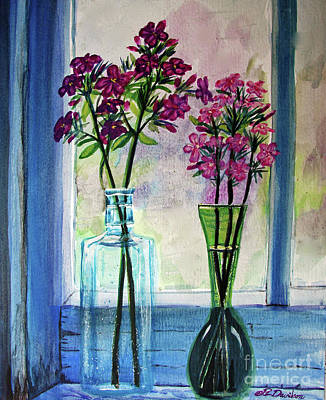 Poster featuring the painting Fresh Cut Flowers In The Window by Patricia L Davidson