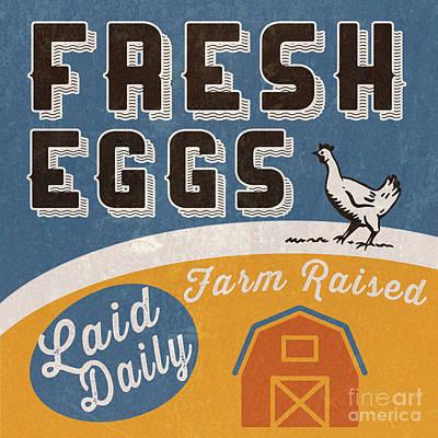 Fresh Eggs Laid Daily Retro Farm Sign Poster by Edward Fielding