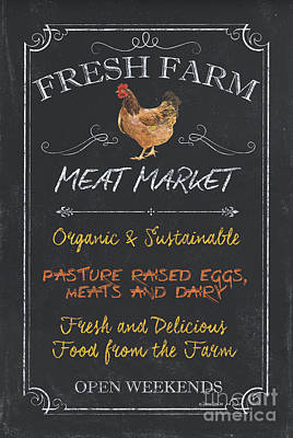 Fresh Farm Meat Poster by Debbie DeWitt