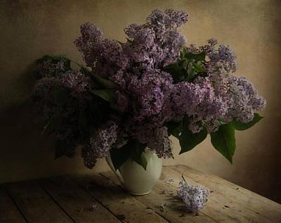 Fresh Lilac In White Pot Poster by Jaroslaw Blaminsky