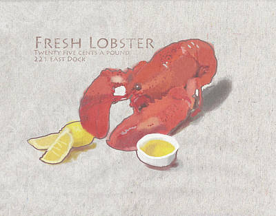 Fresh Lobster Sign Poster by Brad Burns