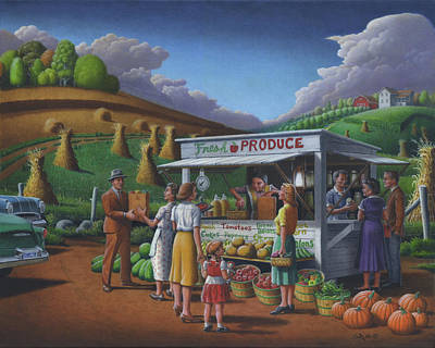 Fresh Produce - Roadside Produce Stand - Vegetables - Fruit Poster by Walt Curlee
