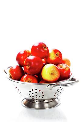 Fresh Red Apples In Metal Colander Poster by Natalia Klenova