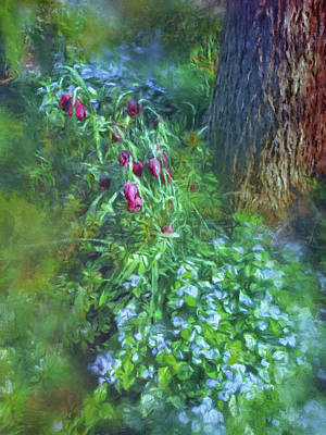 Poster featuring the photograph Fritillaria And Forget-me-nots  by Connie Handscomb