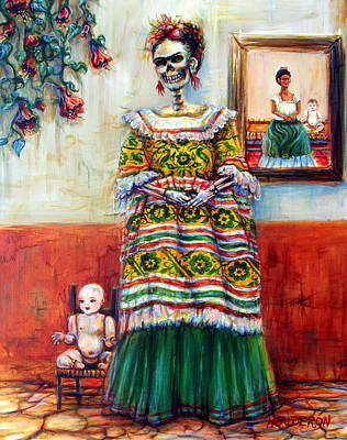 Poster featuring the painting Frida And Her Doll by Heather Calderon