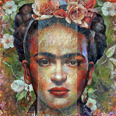 Frida Kahlo And Butterfly Reprint On Framed Canvas Wall Art Home Decoration