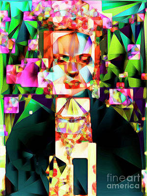Poster featuring the photograph Frida Kahlo In Abstract Cubism 0170326 V3 by Wingsdomain Art and Photography