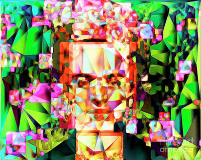 Poster featuring the photograph Frida Kahlo In Abstract Cubism 20170326 V3 Horizontal by Wingsdomain Art and Photography