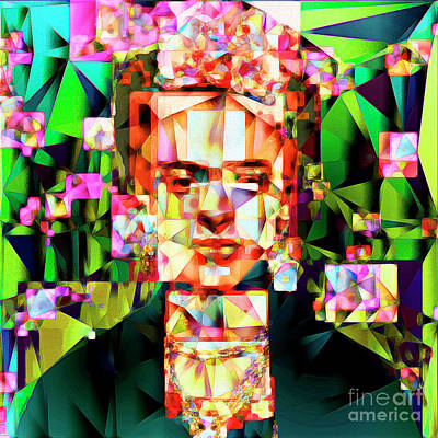 Poster featuring the photograph Frida Kahlo In Abstract Cubism 20170326 V3 Square by Wingsdomain Art and Photography