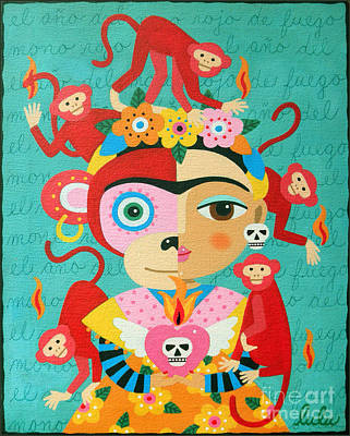 Frida Kahlo Year Of The Monkey Poster by LuLu Mypinkturtle