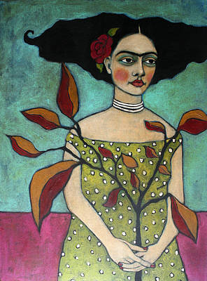 Frida With A Branch Poster by Jane Spakowsky