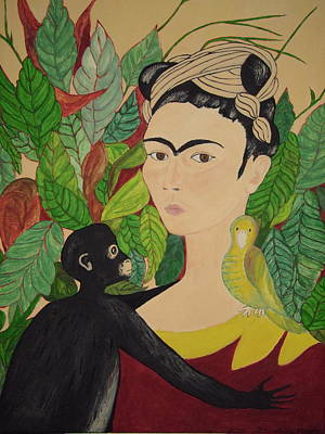 Frida With Monkey And Bird Poster