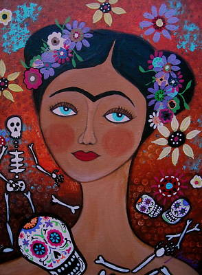 Frida With Skulls Poster by Pristine Cartera Turkus