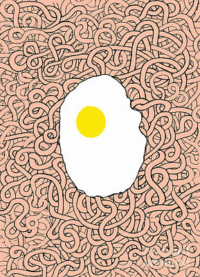 Fried Egg And Spaghetti In Tomato Sauce Poster by Andy  Mercer
