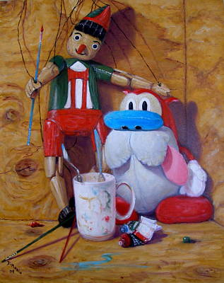 Friends 2  -  Pinocchio And Stimpy   Poster by Donelli  DiMaria