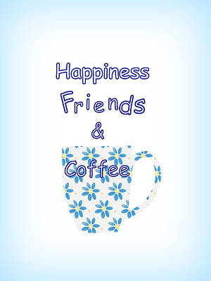 Friends And Coffee Poster by Kathleen Sartoris