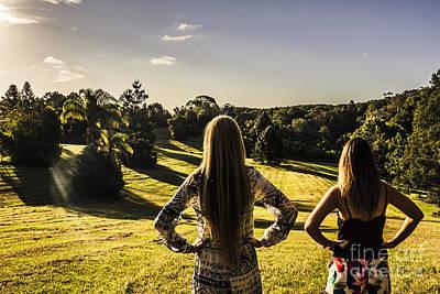 Friends Enjoying A Sunshine Coast Sunset Poster
