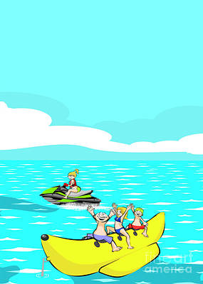 Friends Having Fun On The Beach On A Banana Boat Poster