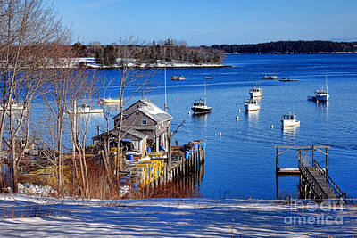 Friendship Harbor In Winter Poster by Olivier Le Queinec