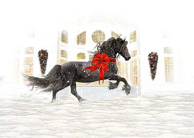 Friesian Christmas Poster by Fran J Scott