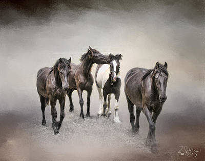 Friesian Horses The Boys And Baby Sister Poster