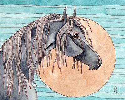 Friesian Over Gold Moon Poster by Suzanne Joyner