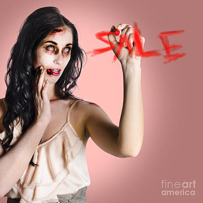 Frightening Businesswoman Writing Sale In Blood Poster