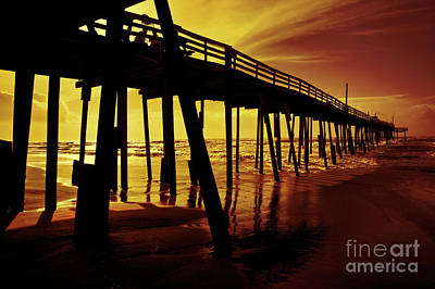 Frisco Pier On Obx At Sunrise Poster by Dan Carmichael