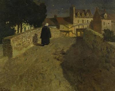 Frits Thaulow 1847 - 1906 Towards The Pont Lovignon Pont Fleuri In Quimperle Poster