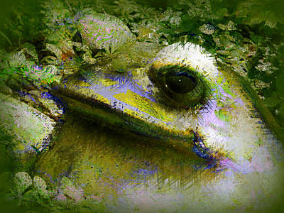Poster featuring the photograph Frog In The Pond by Lori Seaman