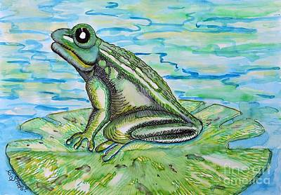 Frog On A Lily Pad Poster by Caroline Street