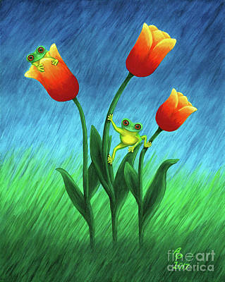 Froggy Tulips Poster