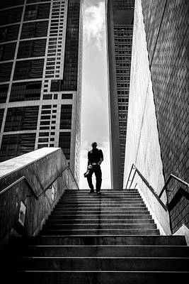 From The Sky - Chicago, United States - Black And White Street Photography Poster