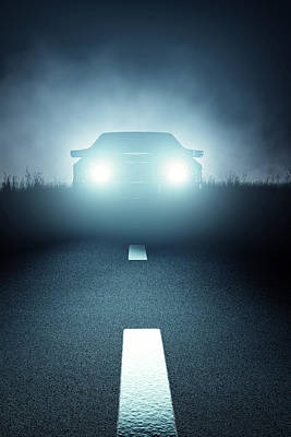 Front Car Lights At Night On Open Road Poster