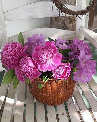 Poster featuring the photograph Front Porch Peonies by Deb Martin-Webster