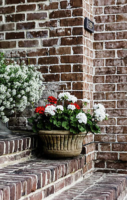 Poster featuring the photograph Front Porch With Flower Pots by Kim Hojnacki
