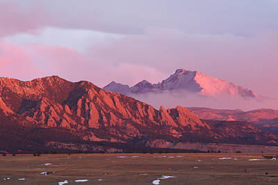 Front Range Sunrise - The Flatirons And Longs Peak Poster by Aaron Spong