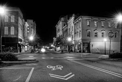 Front Street In Wilmington North Carolina In Black And White Poster