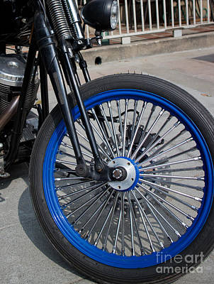 Front Wheel With Blue Rims And Fat Chrome Spokes Of Vintage Styl Poster by Jason Rosette