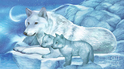 Frost And Moonlight Wolves Poster by Tracy Herrmann