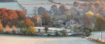 Frosty Autumn Sunrise Overlooking Upper Slaughter Poster by Tim Gainey