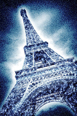 Frosty Eiffeltower In Snow Flurry - Graphic Art Poster
