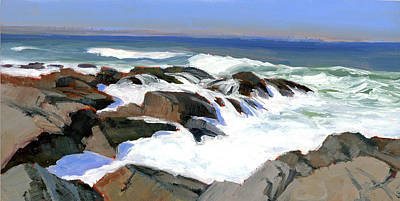 Froth And Foam On The Marginal Way Poster by Mary Byrom