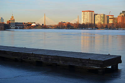 Frozen Dock On The Charles River Poster
