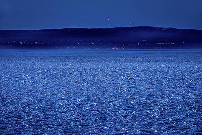Poster featuring the photograph Frozen Bay At Night by Onyonet  Photo Studios