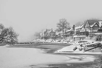 Frozen Boathouse Row In Philadelphia In Black And White Poster by Bill Cannon