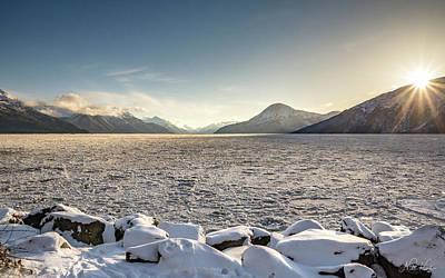 Frozen Fjord Sunrise Poster